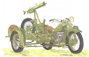[V06] HEAVY MOTORCYCLES M111 SOKÓŁ (FALCON) 1000 with POLISH HEAVY MACHINE GUN (Anti-Aircraft) - BROWNING wz.30